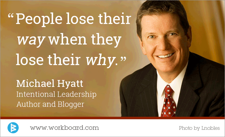 'People lose their way when they lose their why.' - Michael Hyatt, Blogger