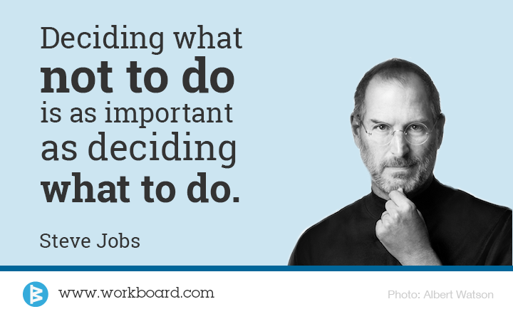 'Deciding What Not To Do is as Important as Deciding What To Do' - Steve Jobs